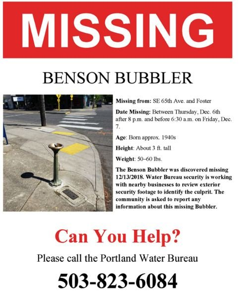 PORTLAND WATER BUREAU - A poster for the missing water fountain created by the Portland Water Bureau.