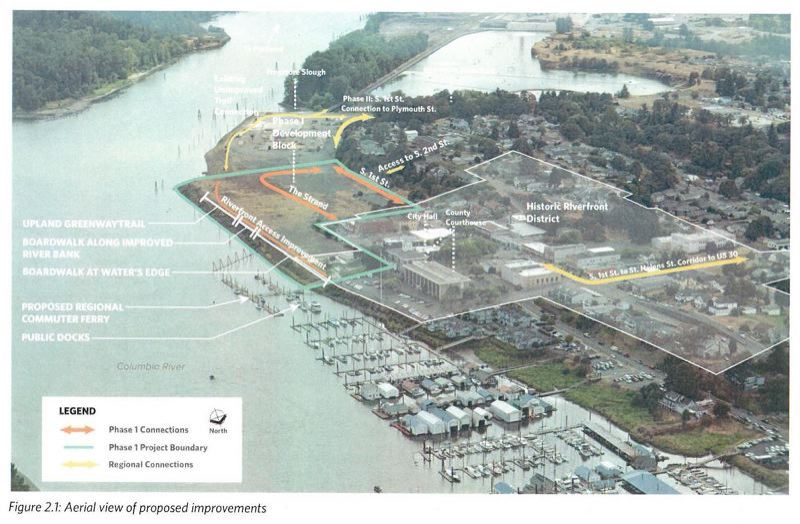 COURTESY PHOTO - A rendering from the St. Helens BUILD grant application outlining the city's waterfront.