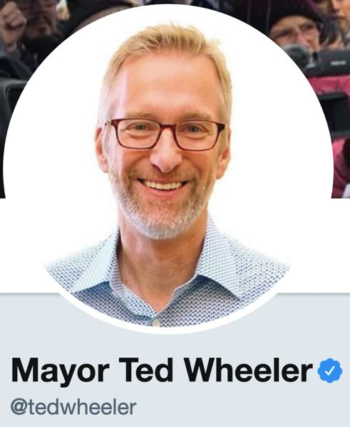 COURTESY TWITTER - A screenshot of Portland Mayor Ted Wheer's Twitter profile.
