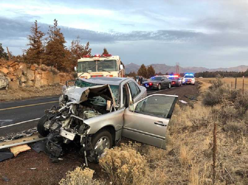 SUBMITTED PHOTO - A Crooked River Ranch woman driving a 2000 Mercedes collided head-on with a delivery van on Northwest Chinook Drive, at the Ranch, on Dec. 7.