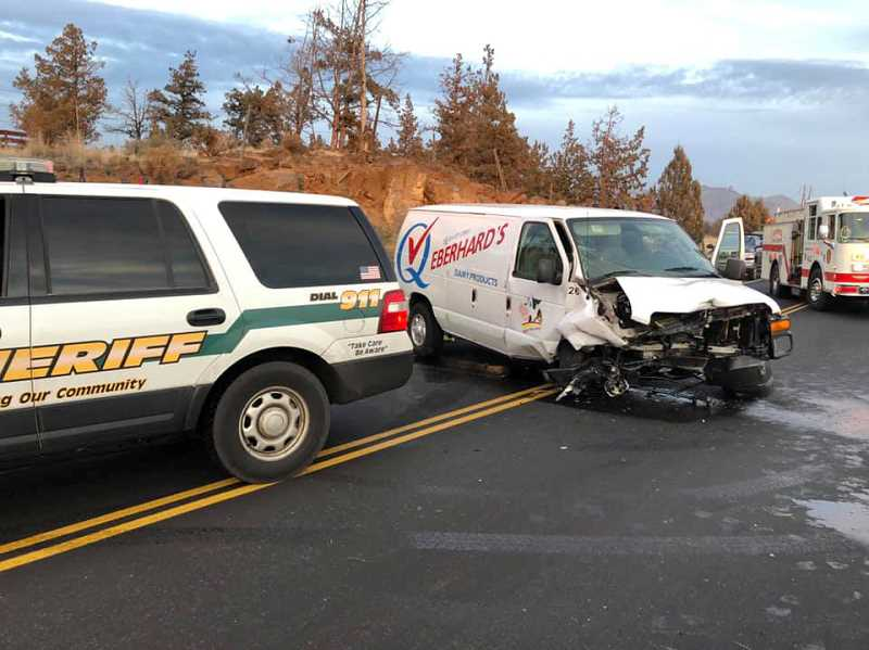 SUBMITTED PHOTO - The drivers of a Mercedes and an Eberhard's delivery vehicle were both injured in a head-on crash at Crooked River Ranch Dec. 7.