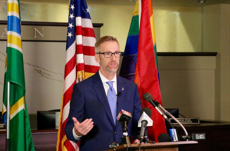 TRIBUNE PHOTO: ZANE SPARLING - Portland Mayor Ted Wheeler speaks with the media on Friday, Dec. 14 at City Hall.