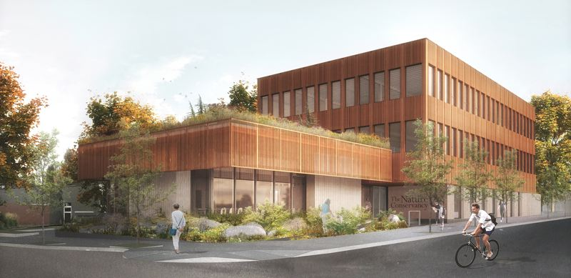 COURTESY: LEVER ARCHITECTURE - When completed, the headquarters of the Oregon chapter of The Nature Conservancy, which will be dubbed the Oregon Conservation Center, will feature an exterior of juniper and weathering metal cladding along with a new pavillion.
