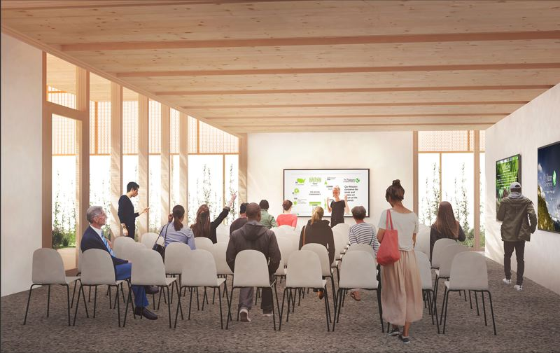 COURTESY: LEVER ARCHITECTURE - A new pavilion will serve as space for conferences, lectures and other events at The Nature Conservancys building on Southeast 14th Avenue.