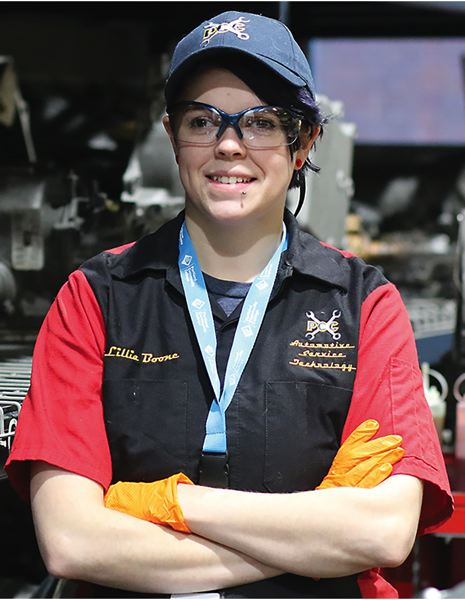 Lilly Boone, a John J. Roberts Scholarship recipient and future mechanic currently attending Portland Community College.