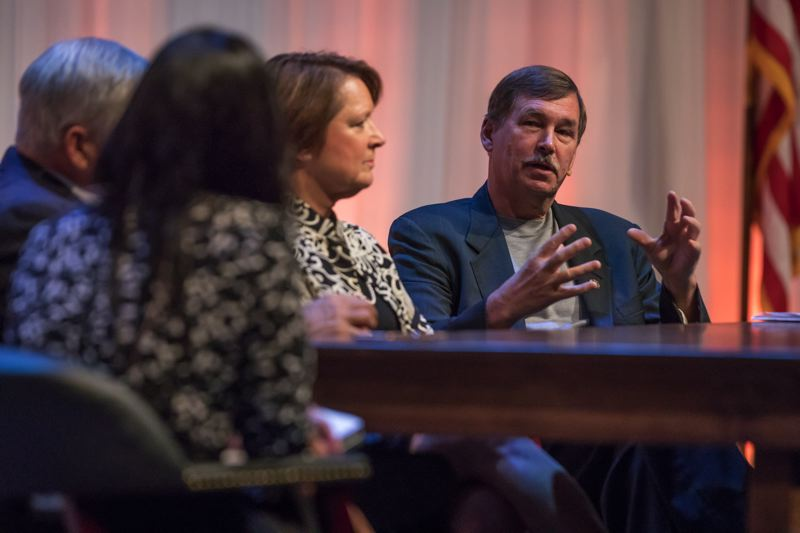 PAMPLIN MEDIA GROUP FILE PHOTO - Oregon state Sen. Brian Boquist speaks at the Oregon Leadership Summit. Boquist has been accused by the Senate leader of harassment for providing biographical infomation about an incoming Democratic senator from Ashland.