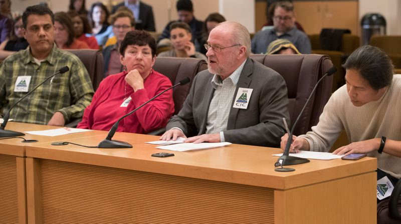 COURTESY MULTNOMAH COUNTY - Greg Anderson, center, testifies during a Multnomah County board meeting on the Community Involvement Committee.