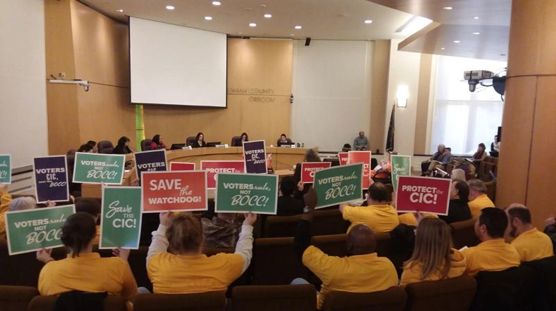 COURTESY GREG ANDERSON - Protesters hold signs in support of the Community Involvement Committee on Nov. 29.