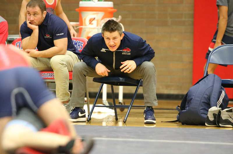 JIM BESEDA/PAMPLIN MEDIA - Josh Rhoden coaches during a match earlier this year. Rhoden, who is a graduate of Crook County High School, is the head coach at Clackamas Community College, which is currently ranked No. 1 in the nation.
