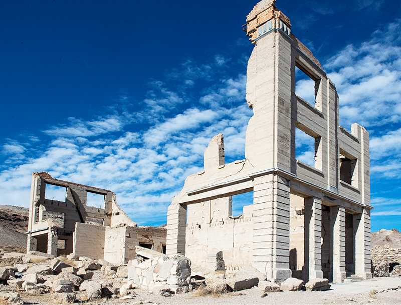 LON AUSTIN/CENTRAL OREGONIAN - All that's left of the bank building in Rhyolite, Nevada.