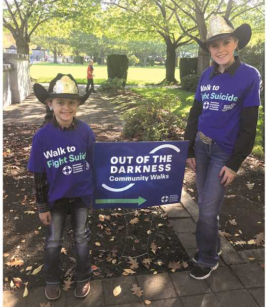 Canby High senior and Miss Teen Rodeo Oregon 2018 Addy Crouch (right) joined 2019 Little Miss NPRA, Baylee Paulson, for a suicide awareness event in Salem recently.