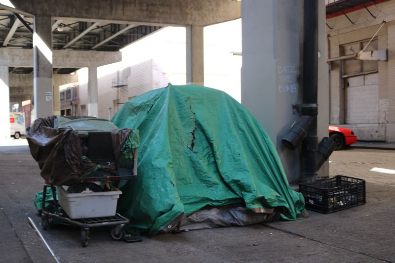 TRIBUNE PHOTO: ZANE SPARLING - A tent and shopping cart set up in Portland's Central Eastside are shown here.