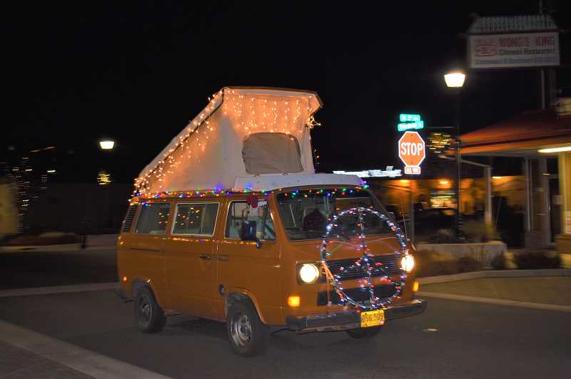 ESTACADA NEWS PHOTO: EMILY LINDSTRAND - One vehicle in the Holiday Light Up Estacada Cruise event last weekend featured this festive peace sign.