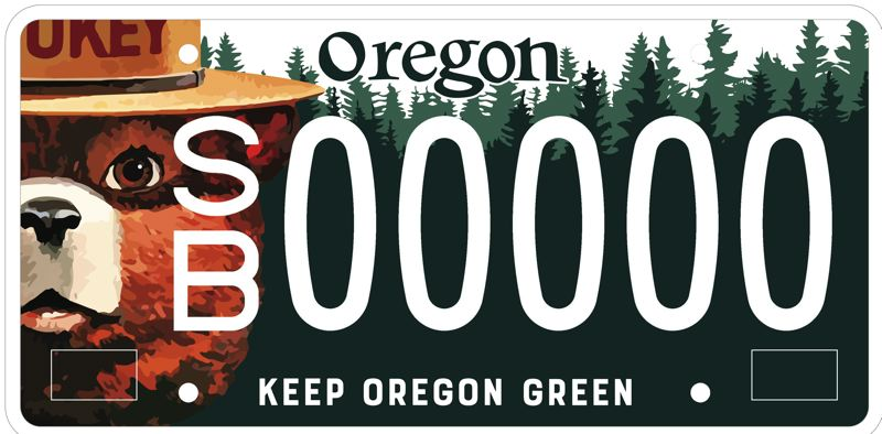 COURTESY PHOTO - The new Smokey Bear license plate for Oregon drivers is shown here.