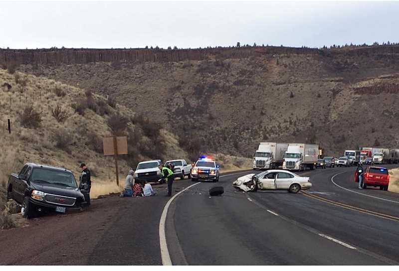 SUBMITTED PHOTO - A head-on crash on U.S. Highway 26, near milepost 107, injured three people and caused a 30-minute highway closure.