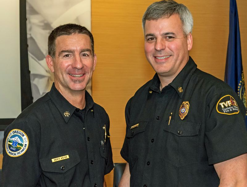 PHOTO: TVF&R - Deric Weiss, left, will replace TVF&R Fire Chief Mike Duyck when he retires in June.