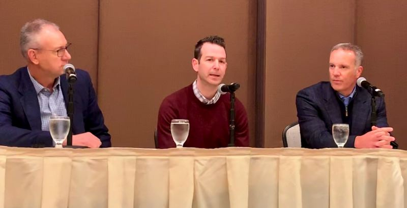 COURTESY: PBA - Oregon Sports Authority CEO Jim Etzel, Portland Timber Vice President Cory Dolich, Portland Diamond Project Managing Director Mike Barrett discussing the feasability of bringing a Major League Baseball franchise to Portland.