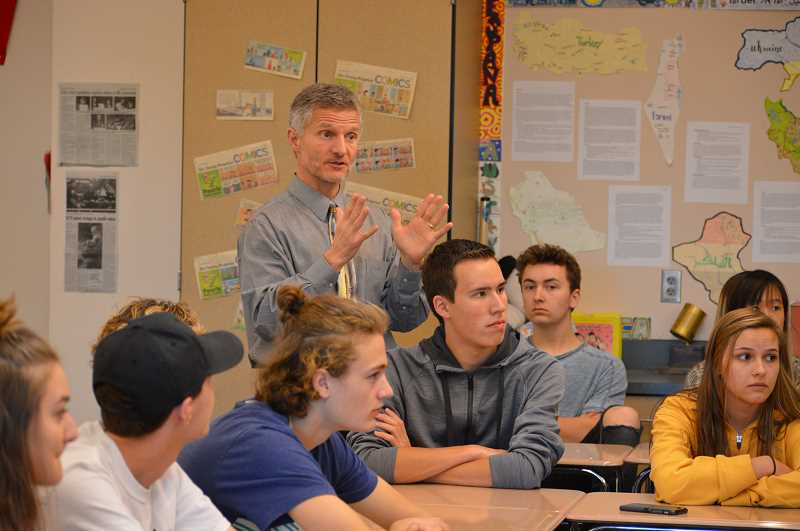 TIDINGS FILE PHOTO - Government and history teacher Todd Jones receives runner-up for the 2019 Oregon Teacher of the Year award.