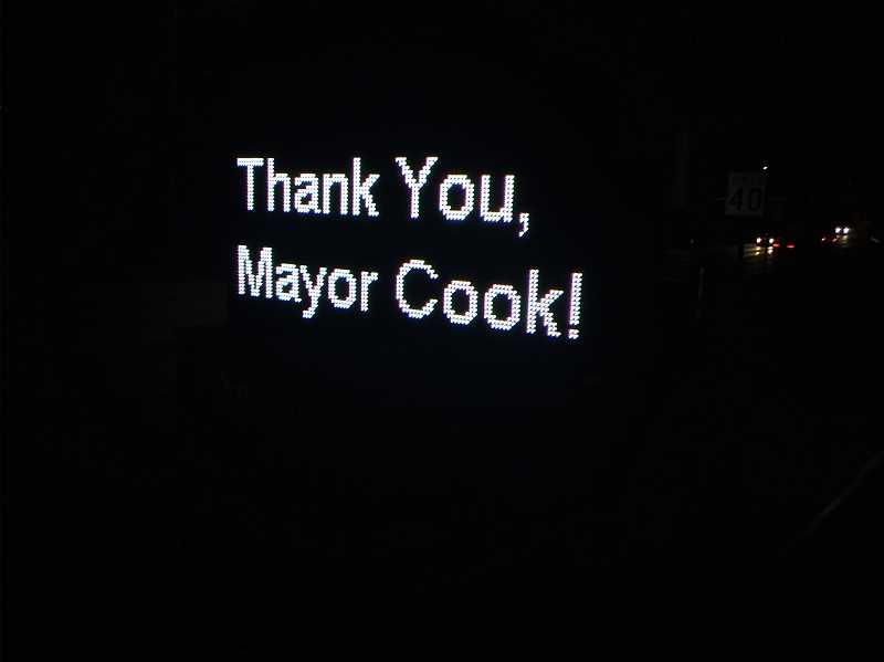 TIMES PHOTO: RAY PITZ - A readboard outside Tigard City Hall Tuesday night thanks Mayor John Cook for his service.