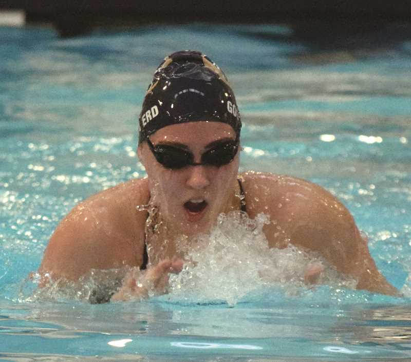 ARCHIVE PHOTO: TANNER RUSS - Canby's Kira Goepferd took first place in the 200-yard IM, and placed second in the 100-yard backstroke. Goepferd is one of the strong leaders for the Cougars on the girls team.