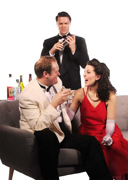 From left are Heath Koerchgen, Jacob Lee Smith, Clara-Liis Hillier in Dial M for Murder at Lakewood Theatre Company.