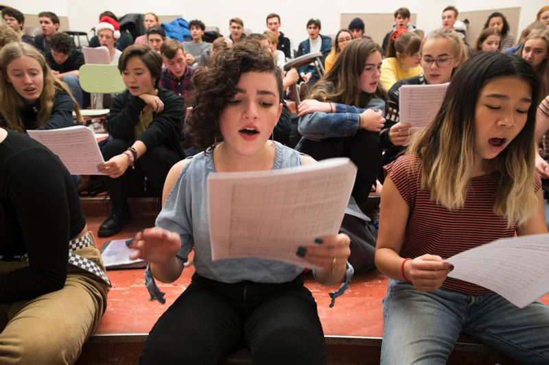 TRIBUNE PHOTO: JAIME VALDEZ - Mirabai Dornfest, a sophomore at Grant High School, sings her solo while rehearsing a song composed by Judy Rose, a teacher at Lane Middle School.