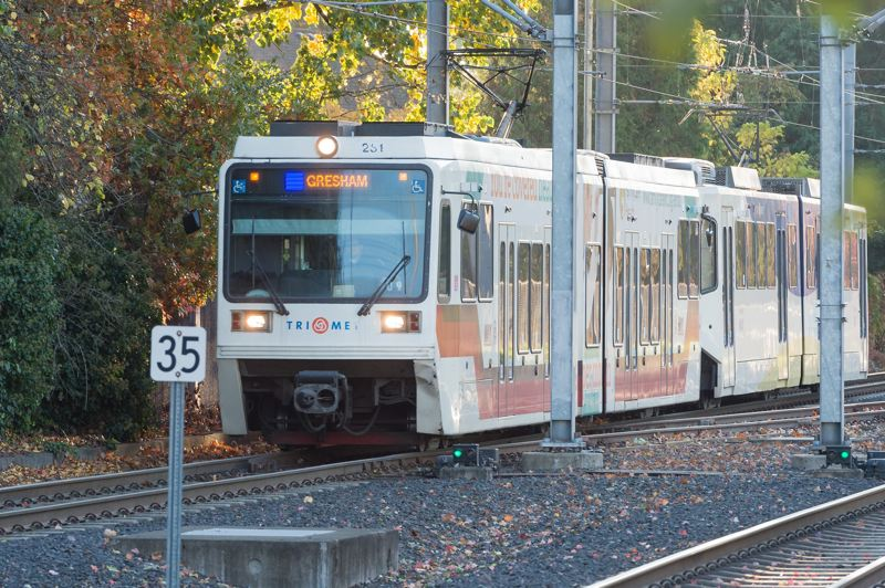 STAFF PHOTO: CHRISTOPHER OERTELL - An eastbound MAX train arrives at the Fair Complex MAX Station in Hillsboro last October.