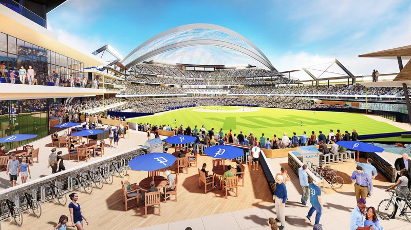 COURTESY ILLUSTRATION: PORTLAND DIAMOND PROJECT - Backers of the MLB-to-PDX movement recently came out with conceptual renderings for a modern Major League Baseball stadium, complete with a retractable roof, along the Willamette River in Northwest Portland.