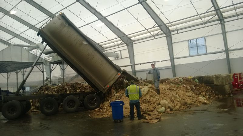 COURTESY OF METRO  - Food scraps are unloaded at JC Biomethane in Junction City back in 2014. The facility, now owned by Shell New Energies, is the state's lone facility for converting food waste into energy.