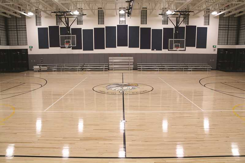 PHIL HAWKINS - The New gymnasium at Washington Elementary features hardwood floors, bleachers and enough space to accomodate the entire student body.