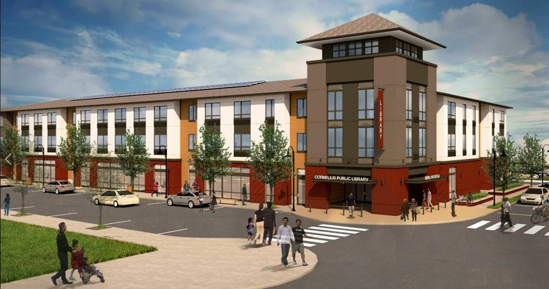 COURTESY ILLUSTRATION: CITY OF CORNELIUS - An artist's rendering shows foot traffic around a completed Cornelius Place, at the corner of North Adair Street and 14th Avenue. The mixed-use building will house both the city's public library and 45 apartments for low-income seniors.