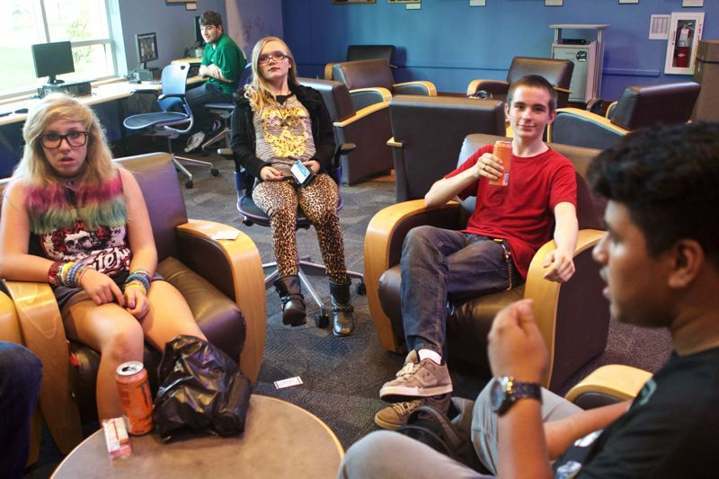 STAFF PHOTO: JAIME VALDEZ - The teen room at the Tualatin Public Library is among its most popular spaces, with some students who meet there regularly after school. The new Cornelius Public Library will have a similar area for teens.