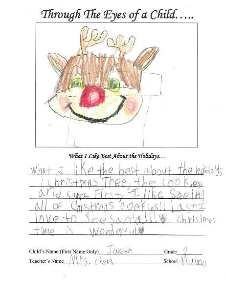 PAMPLIN PHOTO - Mulino Elementary student Jordan drew a picture of a reindeer for the annual 'Through the Eyes of a Child.'
