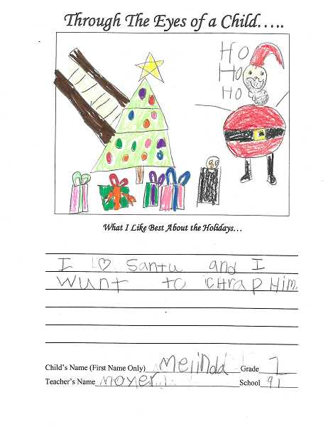 PAMPLIN PHOTO - Ninety One student Melinda drew a picture of Santa for the annual 'Through the Eyes of a Child.'