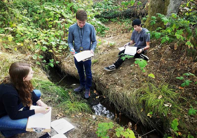 SUBMITTED PHOTO - submitted photoSenior Quentin Comus (center) has coordinated establishment of the Chehalem Valley Watershed Project in concert with other students at Newberg High School.