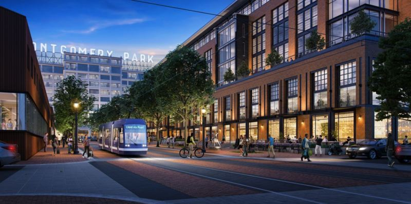 COURTESY PORTLAND STREETCAR - A rendering shows how the proposed Portland Streetcar expansion to Montgomery Park could spur mixed-used development in the Slabtown area of Northwest Portland.