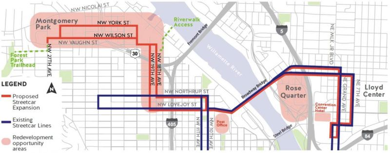 COURTESY PORTLAND STREETCAR - A map shows the proposed route of the Portland Streetcar expansion to Montgomery Park.