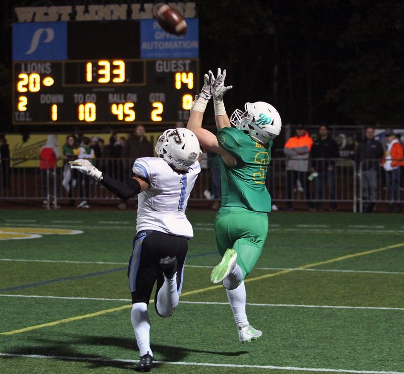 TIDINGS FILE PHOTO - West Linn junior wide receiver Casey Tawa was named to the Class 6A all-state second team after helping lead the Lions into the state quarterfinals this fall.