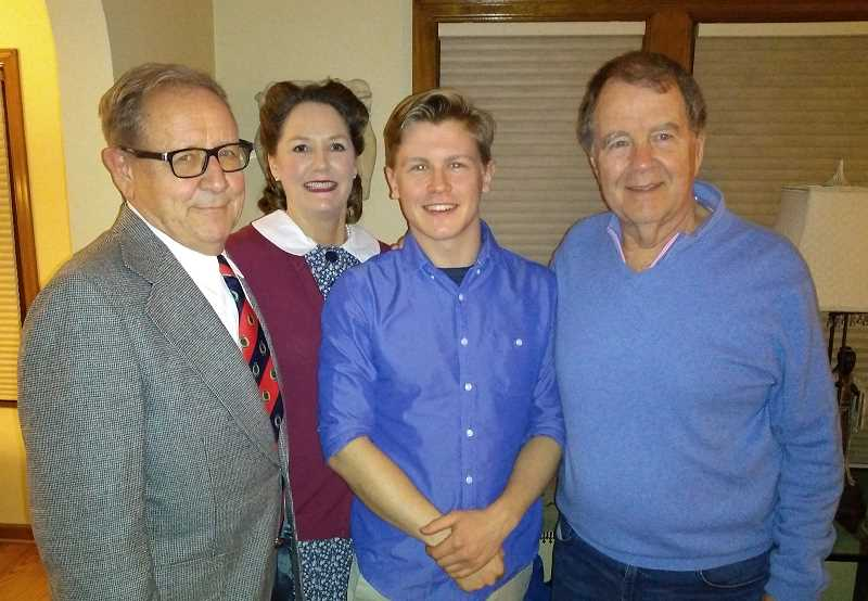 SUBMITTED PHOTO: JAN CASTLE - Lake Oswego resident Duke Castle (right) poses with the actors who star in his short film, 'London Connection.' From left: Bob Sterry, who plays John; Patricia Alston, who plays Margaret; and Colin Kane, who plays their grandson from the future.