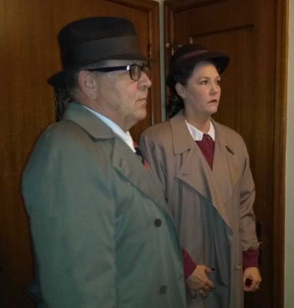 SUBMITTED PHOTO: JAN CASTLE - Actors Bob Sterry and Partricia Alston prepare for a scene in 'London Connection,' a short film written and directed by Lake Oswego resident Duke Castle.