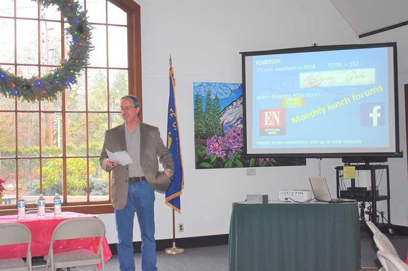 ESTACADA NEWS PHOTO: EMILY LINDSTRAND - Estacada Chamber of Commerce President Brent Dodrill shares some of the groups 2018 accomplishments during a State of the Chamber address on Thursday, Dec. 20.