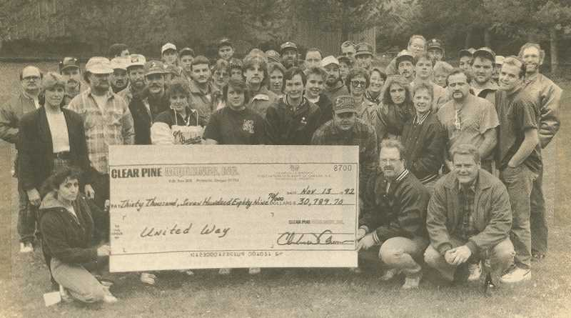 CENTRAL OREGONIAN - The Crook County United Fund (then known as Crook County United Way) collected a $30,789 donation from Clear Pine Moulding in November 1992. In recent years, donations to the United Fund have declined as making donations to specific nonprofits has gotten easier.