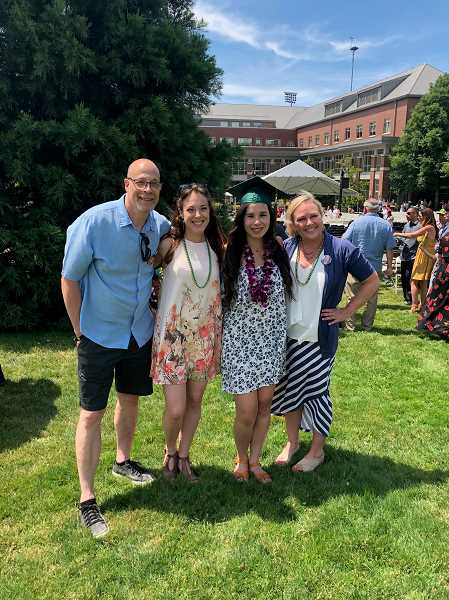 SUBMITTED PHOTO - Mark Silverman and his daughters Abby, Emma and their mother Lori attended Emma's college graduation last spring.