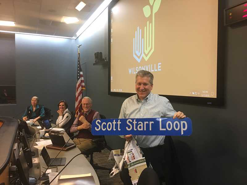 SUBMITTED PHOTO: CITY OF WILSONVILLE - Wilsonville City Council President Scott Starr completed his final council meeting Monday, Dec. 17.