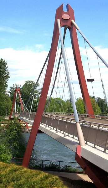 The Peter Defazio Bridge in Eugene is an example of a suspension bridge.