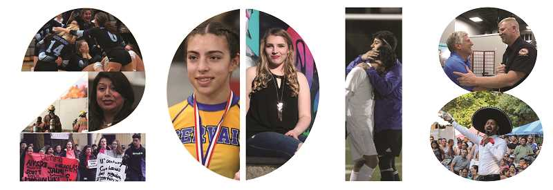 INDEPENDENT FILE PHOTOS - Highlights of 2018 include (far left graphic, from top) St. Paul took home its first-ever volleyball state championship win after switching back to the 1A Classification this fall; Teresa Alonso Leon, who was re-elected to House District 22 (Woodburn/Gervais/North Salem), speaks at a mental health clinic at Woodburn High School this fall; Firefighters were busy this year, with plenty of large fires, including this one in February at the Young Street Market, which destroyed the building; Woodburn High School students took to the streets in March to advocate for stricter gun laws in a nationwide response to the Parkland, Florida school shootings, (second graphic, from left) Gervais High School's Alexys Zepeda placed third at the state wrestling tournament, marking the highest a female has risen in the ranks during the OSAA event; Mikayla Golka, a 2018 graduate of North Marion High School, was selected as the Woodburn Independent's Amazing Kid for 2018, thanks to the many creative ways she has used her talents to give back to the community; (third graphic) Thanks to Woodburn's move to the 4A classification, Woodburn faced North Marion in the boys soccer championship in November, coming out on top 2-0; (fourth graphic, from top) Woodburn has a new mayor in Eric Swenson (left) who shakes hands on Election Night with Lt. Robb Gramzow of the Woodburn Fire District, which saw voters approve its levy in the same election; and Woodburn Fiesta Mexicana's 55th year celebration saw perhaps its highest attendance ever and had new features, like this Juan Gabriel tribute performed by Miami-based performer Ray Heker.