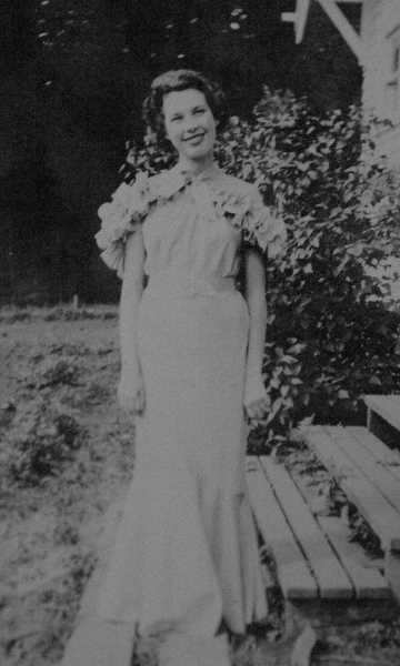 COURTESY PHOTO - Dawn Moehnke poses for her high school graduation photo on her front porch steps in 1936.