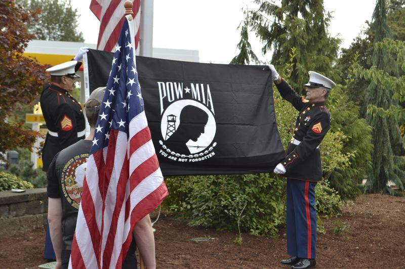 FILE PHOTO - The POW-MIA flag currently flies on select days in Boring under the American flag at Boring Station Trailhead Park.