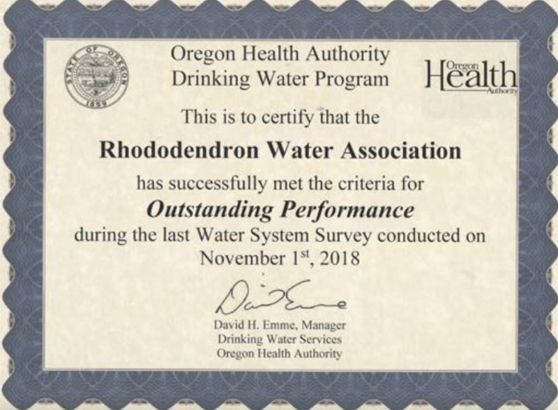 CONTRIBUTED PHOTO - It has been a longtime goal of the Rhododendron Water Association to be recognized for outstanding performance.