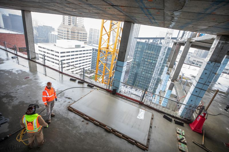 TRIBUNE PHOTO: JONATHAN HOUSE - The 464,712-square-foot Multnomah County Central Courthouse tower is scheduled to open in 2020.
